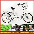 """LianDu 26"""" 6 Geschwindigkeit 3 Räder Weißes Erwachsenendreiradfahrradkreuzfahrrad-Dreiradtrike mit Einkaufs"""