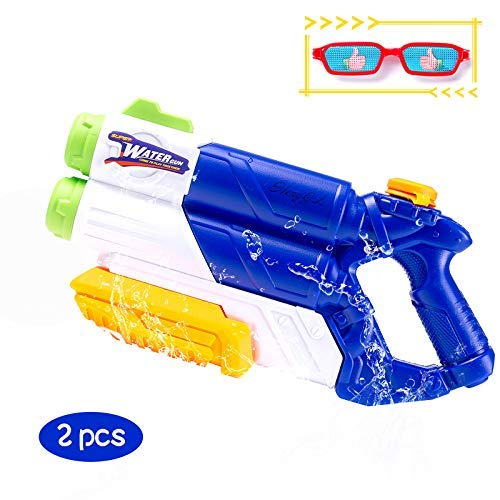 HengGL Water Gun for Kids, Large Capacity Water Pistol Powerful Water Blaster Toy 2 Nozzles for Party, Beach, Pool, Water Fighting, Summer Outdoor Water Fun Toy for Kids Adults