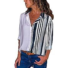 d64cd0c105920c MRULIC Damen Shirt Tie-Bow Neck Striped Langarm Spleiß Bluse Gestreift Damen  Tragen Tops Pullover