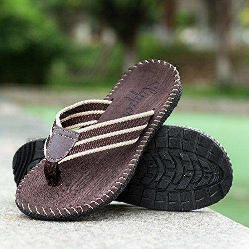 Tongs d'été pour hommes sandales de plage de glissement XXCWN Brown -1