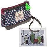 HAPPINESS Kosmetikbeutel Beauty Tasche POUCH 3 Fächer Schminktasche klein + Beutel (Belize Petrol (Blau Braun)