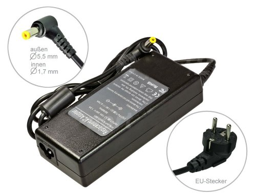 90W Alimentatore AC Adapter per Notebook Carica Batterie per Acer Extensa 5220 5230 5630z. Con cavo di alimentazione a norma europea. Di e-port24