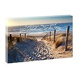 Weg zum Nordseestrand | Panoramabild im XXL Format | Trendiger Kunstdruck auf Leinwand | Verschiedene Größen und Farben (100 cm x 65 cm, Farbig mit Schrift 5)