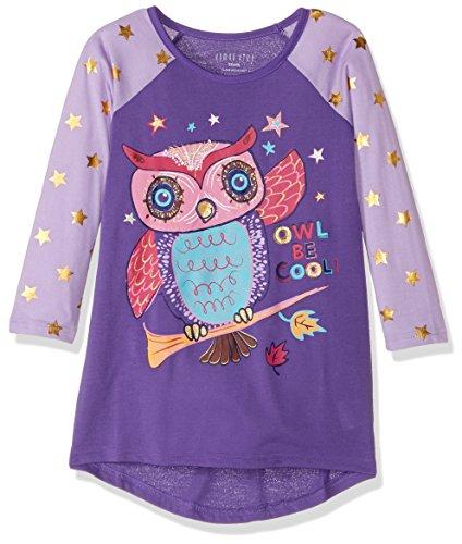 Komar Kids Niñas Owl Jersey Nightgown Bata para Dormir - Púrpura - 7247ce63b