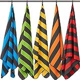 Fit-Flip Strandhandtuch XXL 160x80cm / Gelb - Dunkelgrau gestreift- Strandtuch microfaser, travel Towel, Strandtuch XL, extra großes Handtuch
