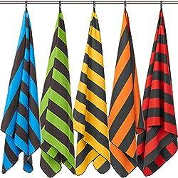 Fit-Flip Strandhandtuch XXL 160x80cm / Blau - Dunkelgrau gestreift- Badetuecher, Decke mit Beutel, Microfaser Handtuch, Handtuch extra groß