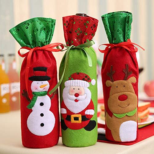 Caidi®–Juego 3Fundas Navidad Botella Vino
