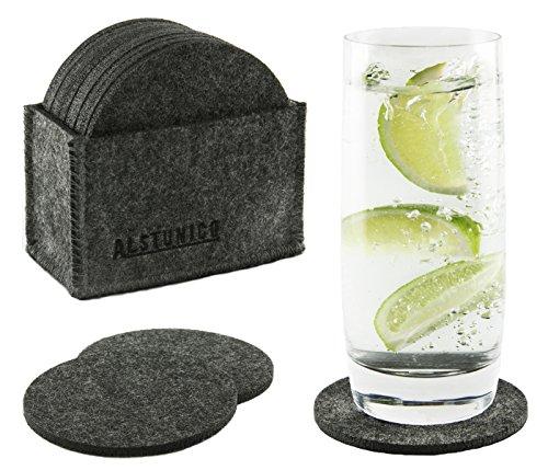 Glasuntersetzer aus Filz mit erhöhter Stabilität durch 1.300 g/m², 10er Premium-Set Getränke-Untersetzer mit Box für Tisch, Bar, Gläser, Tassen / rund, dunkelgrau anthrazit