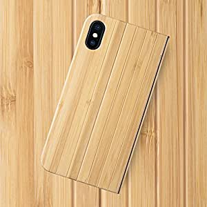 iATO iPhone X/XS Book Type Case - Real Bamboo Wood Grain Premium Protective Front & Back Cover - Unique Folio Flip Bumper Accessory for iPhone X (2017) & XS (2018) - Supports Wireless Charging