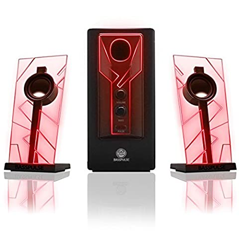 GOgroove BassPULSE 2.1 Satellite Stereo PC Computer Gaming Speakers & Surround Sound System with RED LED GLOW Lights PC , Mac Desktop / Laptop Computers , Home Theatre & More