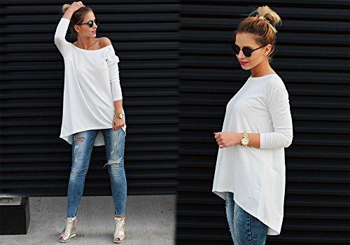 Damen Tunika Bluse Longshirt Top Ausschnitt Hinten Casual Damen Shirt S M L (301) Weiß