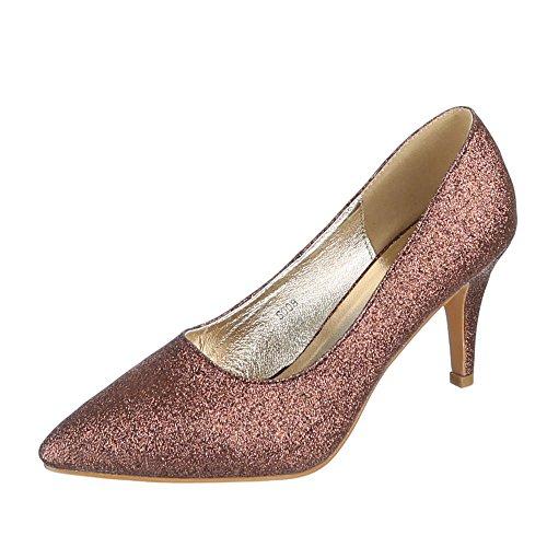 Damen Schuhe, S008, Pumps, High Heels, Synthetik, Bronze, Gr 37 - Bronze Pumps Heels