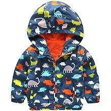 M&A Chubasquero Infantil Niño Otoño Primavera Sudadera Prensa Dinosaurio Impermeable Gabardina Coat Cool Boy Deporte Rompeviento Capucha