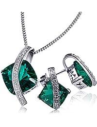Goldmaid Damen-Schmuckset Halskette + Ohrringe 925 Sterlingsilber rhodiniert smaragdgrüner Zirkonia Kettenanhänger Schmuck