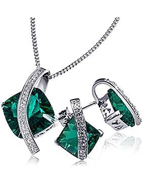 Goldmaid Damen-Schmuckset Halskette + Ohrringe 925 Sterlingsilber rhodiniert smaragdgrüner Zirkonia Kettenanhänger...