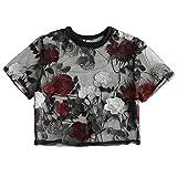 TUDUZ Damen Sommer Kurzarm O-Ausschnitt Stickerei Applique Bluse Tops T-Shirt Oberteil