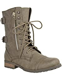 0b7898a017a WOMENS LADIES ARMY COMBAT LACE UP ZIP GRUNGE MILITARY BIKER TRENCH PUNK  GOTH ANKLE BOOTS SHOES