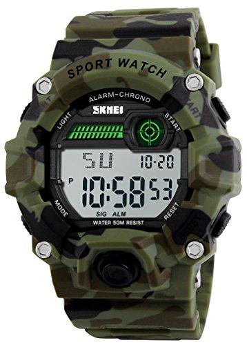 Niños camuflaje LED reloj deportivo, impermeable electrónico Digital Casual Military muñeca niños deportes reloj con banda de silicona luminoso alarma Cronómetro Relojes