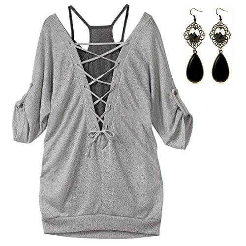 Sitengle Donna Maglie a Manica Lunga Bluse T-shirt Manica a 1/2 2 Pezzi Maglia Lunga Camicia Camicetta e Sling Canotte Tops