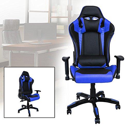 HG® Bürodrehstuhl Racing Stuhl Chefsessel Premium gepolsterte Armlehnen Belastbarkeit 200 kg Ergonomischer Einstellbare Exekutivbüro Schreibtischstuhl schwarz/blau