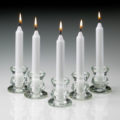 Set of 80 Unscented White Taper Candles 6 Inch Tall 3/4 Inch Thick Burn 5 Hours by Light In the Dark