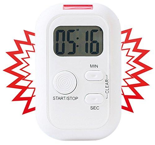 infactory Timer mit Lichtsignal: Elektronischer Timer mit Ton-, Licht- und Vibrationsalarm (Stoppuhr...