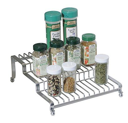 mDesign Gewürzregal für Küchenschrank und Küchentisch - praktische Gewürzaufbewahrung - Gewürzhalter auf drei Ebenen – Farbe: Silber