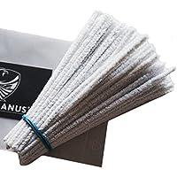 GERMANUS Pfeifenreiniger 100 Stück in Weiß Chenilledraht Biegeplüsch zum Basteln und Dekorieren für Kinder und Erwachsene