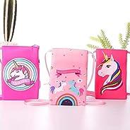 monkey tail (set of 3) unicorn soft plush sling cross body bag with cute unicorn prints for birthday/navrathri