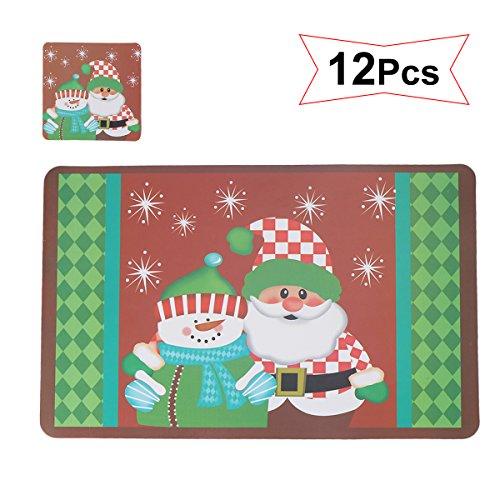 Tinksky Calzamaglia antisdrucciolevole antiscivolo impermeabile caldo resistente al calore Natalizio del Babbo Natale Patterns Placemats Cuscini Tazze di tappeto Tovaglia da tavolo Decorazione natalizia 12pc