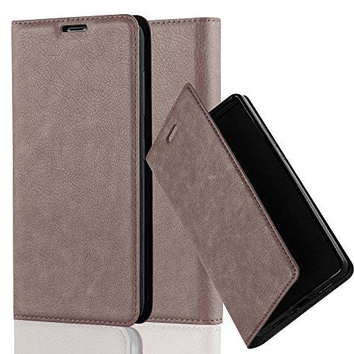 Cadorabo Hülle für Nokia Lumia 535 - Hülle in Kaffee BRAUN – Handyhülle mit Magnetverschluss, Standfunktion und Kartenfach - Case Cover Schutzhülle Etui Tasche Book Klapp Style