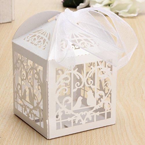 Inovey 10St Durchbohrt Vogelkäfig Süßigkeiten Paket Geschenk Box Hochzeitstorte Schokolade Box - Weiß (Box Aus Weißer Schokolade)
