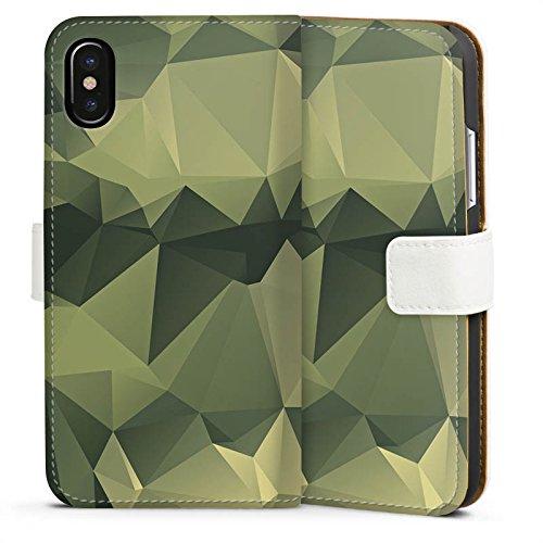 Apple iPhone 7 Plus Hülle Premium Case Cover Camouflage Muster Tarnfarben Sideflip Tasche weiß