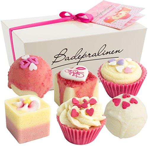 BRUBAKER Set cosmetica bombe da bagno Blossom & Hearts Set da 6 pezzi fatti mano e vegane
