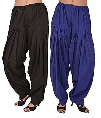 Bottomline Women's Cotton Patiala Salwar Combo (_Black & Blue_Free Size)