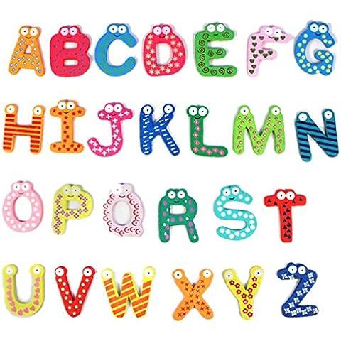 Ularma Lindo Juguetes educativos de bebé colorido lindo 26 letras madera animados imán de nevera infantil