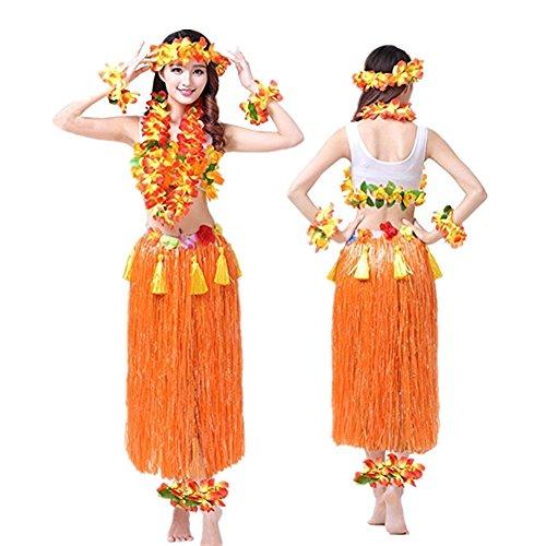 Hawaiano-Hula-Vestido-Falda-Hierba-Guirnaldas-de-flores-Accesorios-de-playa-Dance-Costume-Disfraces-Naranja