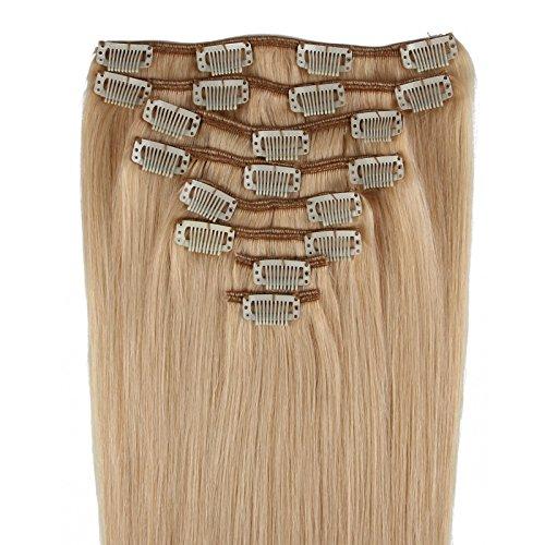 Beauty7 - 8 Tressen Clip-in Extensions Remy Echthaar Haarverlaengerung Haarverdichtung Haarteil Peruecke Echthaar Extensions Straehnen 50cm 20 inches in Farbe #22 Naturblond 120g