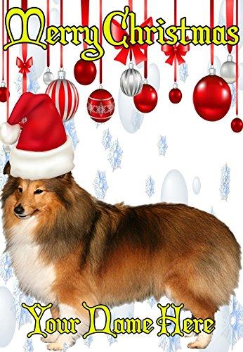 Shetland Sheepdog ptcc214Santa Hat Xmas Weihnachten Karte A5personalisierbar Karten geschrieben von uns Geschenke für alle 2016von Derbyshire UK... -