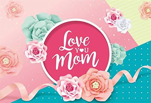 (YongFoto 2,2x1,5m Polyester Foto Hintergrund Liebe Dich Mama Helle Blumen Pink Ribbon Farbiger Hintergrund Fotografie Hintergrund Backdrop Fotostudio Hintergründe Requisiten)