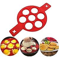 KJLM laptop pancake Molds Ring fried egg Mold, riutilizzabile, in silicone antiaderente Padella per pancake Egg Ring rapidamente una torta per lei per risparmiare tempo prezioso Red 7 Holes