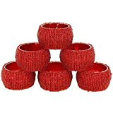 ShalinIndia Moldeado de los Anillos de servilleta Conjunto de 6 Decoraciones Rojas Adornos...
