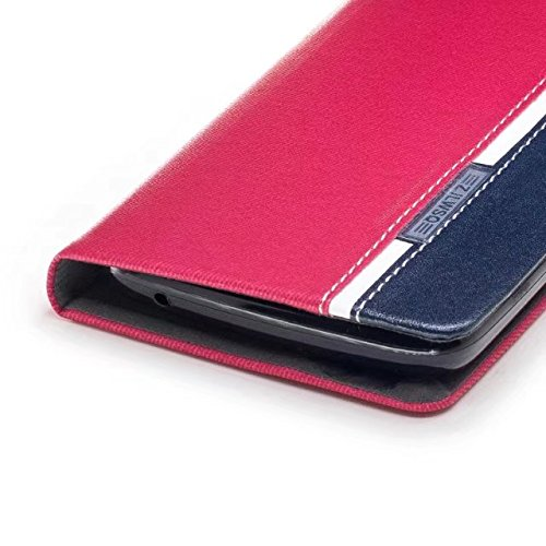 EKINHUI Case Cover Mischfarben Premium Synthetik PU Ledertasche mit Kartensteckplätzen und Kickstand für Motorola Moto C Plus ( Color : Blue ) Red