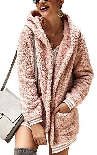 Spec4Y Damen Mantel Oversize Fleece Strickjacke Offene Langarm Cardigan Einfarbig Outwear Jacke Parka Coat mit Kapuze und Taschen Rosa XL
