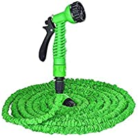 BK Sales 50 ft Plastic Expandable Nozzle Flexible Water Hose Pipe with Spray Gun and 7 Adjustable Modes (Multi Color)