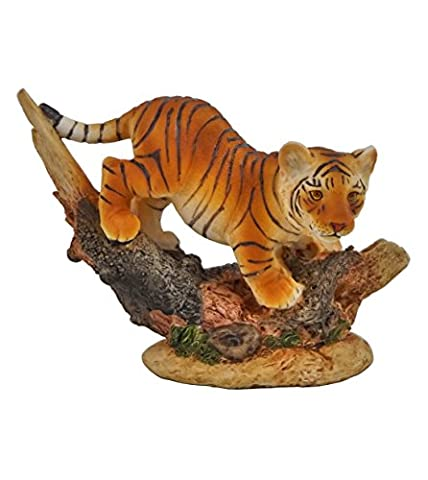Tiger Baby am Baumstamm Katze Tigerfigur Skulptur Deko Tier Figur