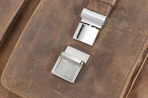 Packenger Kolbjorn Messenger bis 15 Zoll aus Leder Umhängetasche, 38 cm, Cognac Braun Muskat-Braun