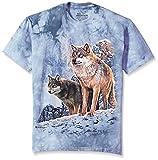 The Mountain Unisex-Erwachsene Wolf Couple Sunset T-Shirt, blau, Groß