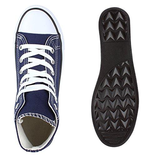 Herren Damen Sneakers High Top Profilsohle Freizeit Turnschuhe Marineblau