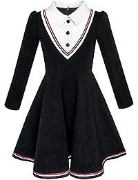 Mädchen Kleid Schule Uniform Weiß Kragen Lange Ärmel Gestreift Gr. 98-146
